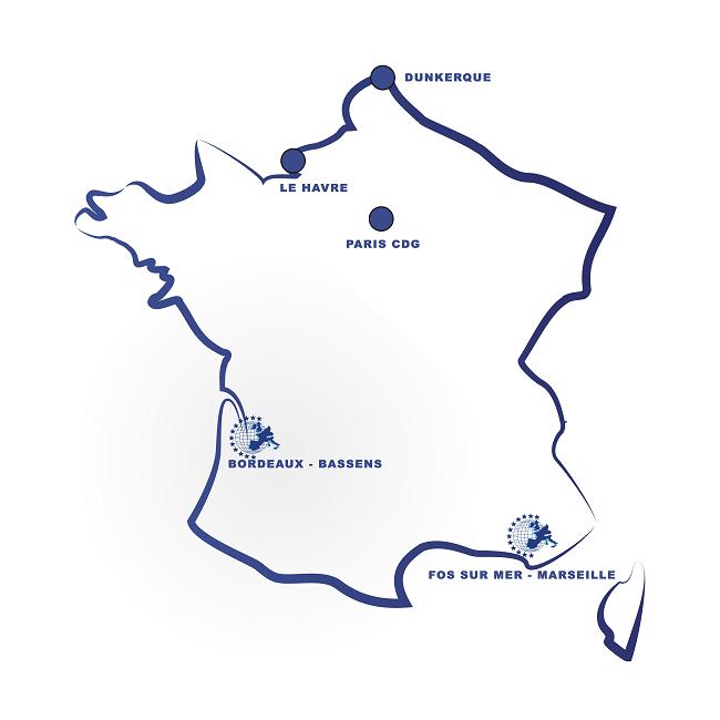 Agences Transports Clauni représentées sur la carte de France