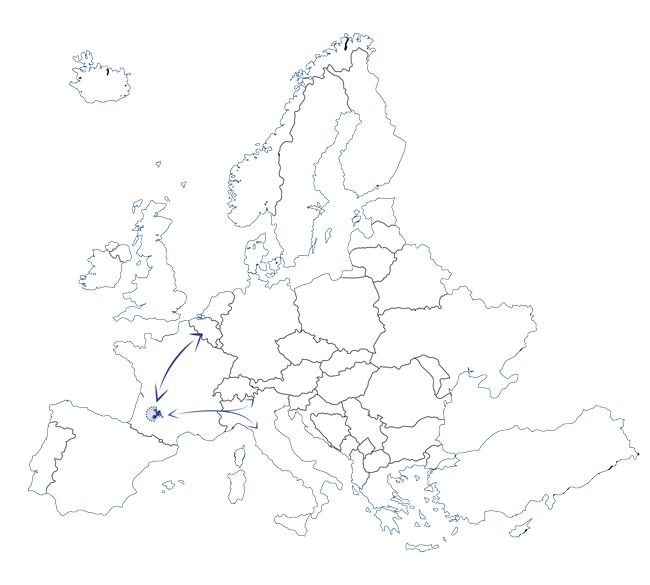 Carte Europe resau routier Transports Clauni